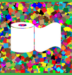 Toilet paper sign white icon on colorful vector