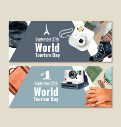 Tourism day banner design with polaroid camera vector