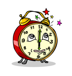 Traditional alarm clock waking up cartoon vector