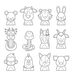Twelve Animals Chinese Zodiac Signs Outline Set vector