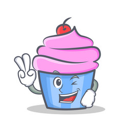 Two finger cupcake character cartoon style vector