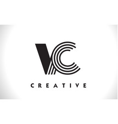 Vc logo letter with black lines design line letter vector