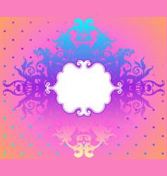 Vintage baroque floral patterned frame in bright vector