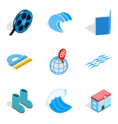 Water bewitched icons set isometric style vector