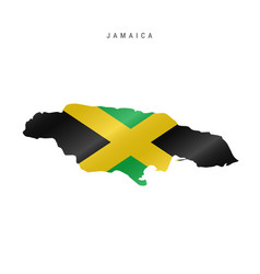 Waving flag map jamaica vector