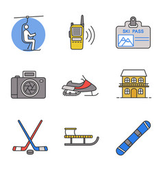 Winter activities color icons set vector