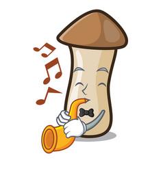 With heart pleurotus erynggi mushroom mascot vector