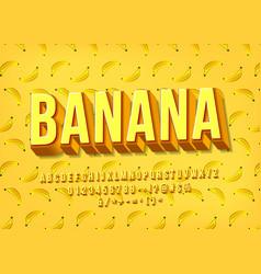 Yellow banana alphabet 3d layered typeface vector
