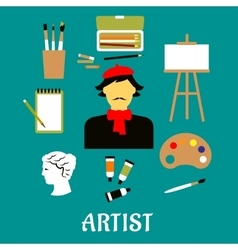 Artist or craftsman with art icons vector