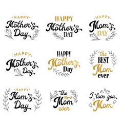 mothers day lettering inscriptions with badges vector image