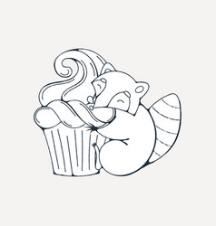 with cute raccoon with cupcakes vector image