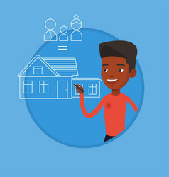young man drawing his family house vector image