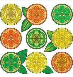 Decorative oranges lemons and limes vector image