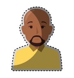 sticker colorful half body brunette bald man with vector image