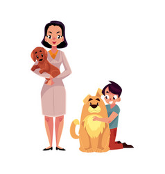 woman female veterinarian doctor vet and little vector image