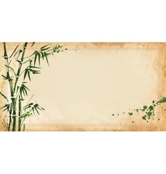 bamboo painted on textural grunge horizontal vector image