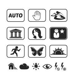 Digital camera modes icons set vector