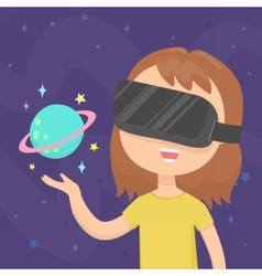 Girl wearing a virtual reality glasses in space vector image vector image