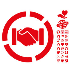 handshake diagram icon with lovely bonus vector image vector image