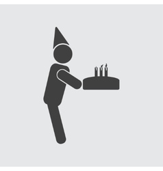 Man with cake icon vector image