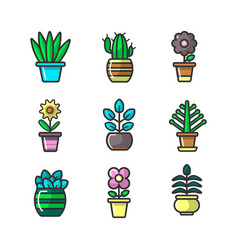 plants in flower pots decoration icons set vector image vector image