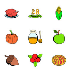 turkey icons set cartoon style vector image vector image