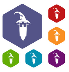 wizard icons set vector image