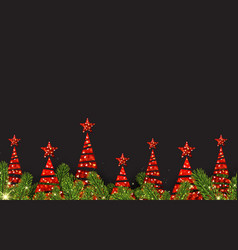 background with red abstract christmas trees vector image vector image