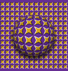 ball with a four pointed stars pattern rolling vector image vector image