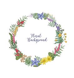 beautiful hand drawn wreath or circular garland vector image