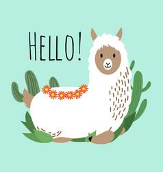cartoon lama design - hello card with cute vector image vector image
