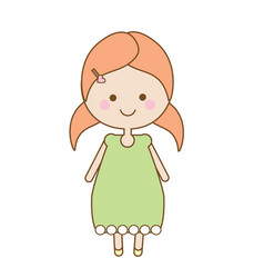 cute smiling girl character sweet cartoon little vector image vector image