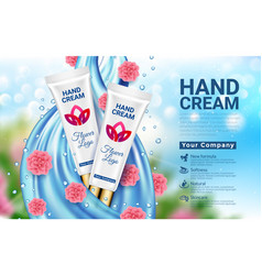 hand cream white tube blue drop and pink flowers vector image