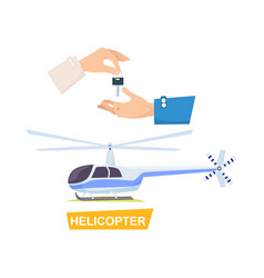 hand passing key process of buying helicopter vector image vector image