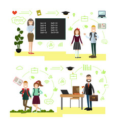 school concept in flat style vector image vector image