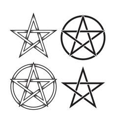 set of pentagram dot work ancient pagan symbol vector image vector image