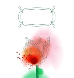tulip flower on watercolor background vector image