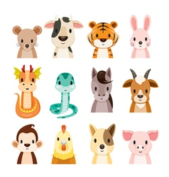 Twelve Animals Chinese Zodiac Signs Icons Set vector image vector image
