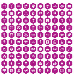 100 events icons hexagon violet vector image