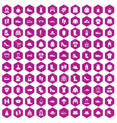 100 rags icons hexagon violet vector