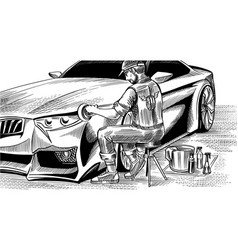 A man polishing the hood of an automobile auto vector