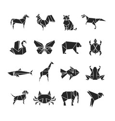 abstract animals silhouettes with line details vector image