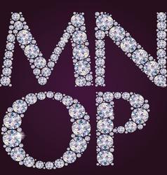 Alphabet diamonds mnop vector