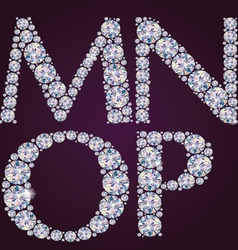 Alphabet of diamonds MNOP vector image
