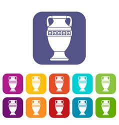 Ancient jug icons set vector