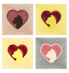 Assembly flat shading style icons cat heart vector