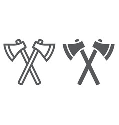 axes line and glyph icon weapon and hatchet vector image