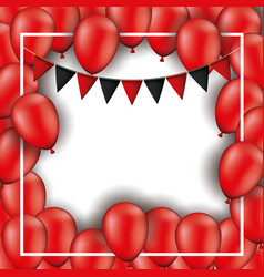 background with red and black festoons and red vector image