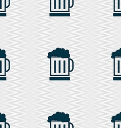 Beer glass icon sign Seamless pattern with vector image