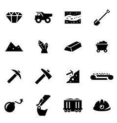 black mining icon set vector image